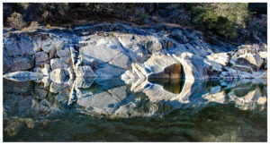 Rocks reflected in the water of the Yuba River