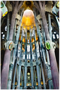 Main hall in the Sagrada Familia Cathedral in Barcelona