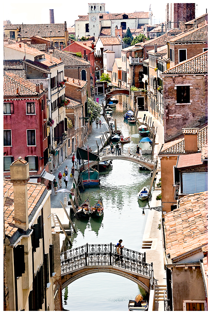 Venice street scene- looking down from a taller building.