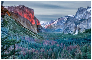 Last light of the day falling on El Capitan in Yosemite National Park.