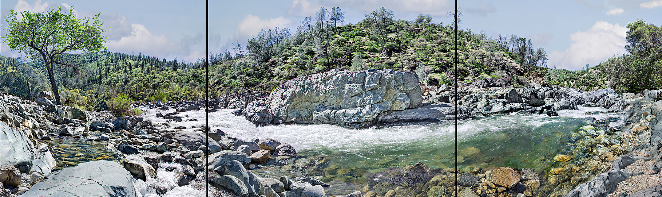 The Yuba River flowing around the bend along the Buttermilk Trail at the South Yuba State Park