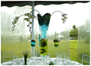 Glass vase on a rainy day