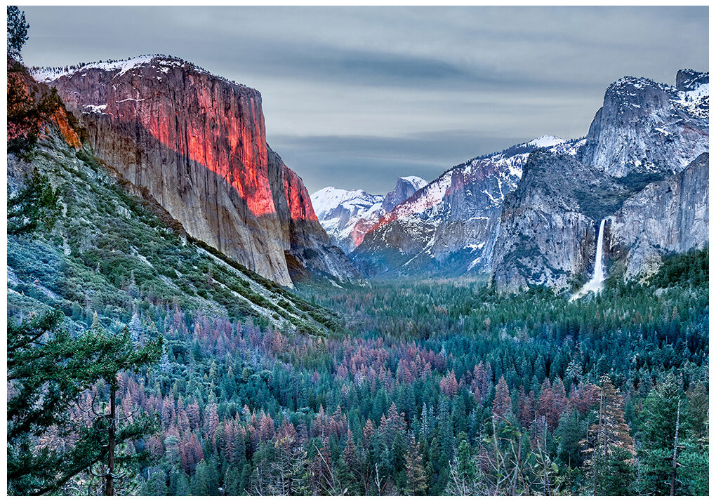 El Capitan in the glow of the last light of the day.